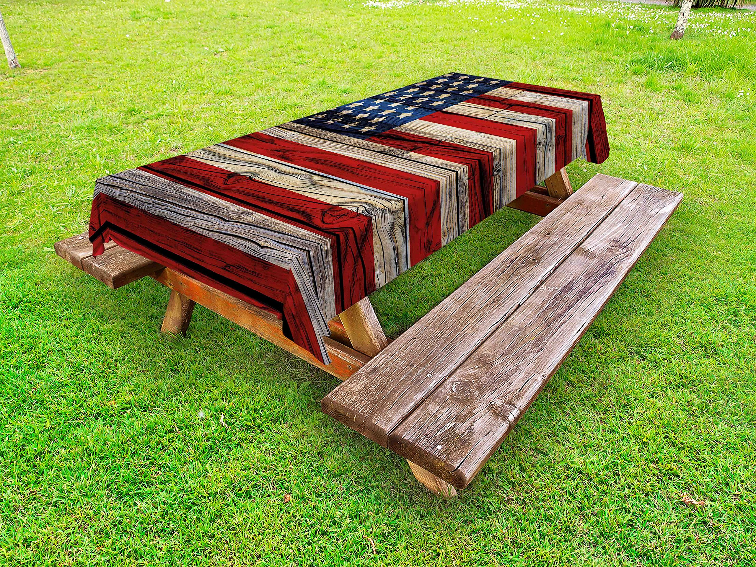 Ambesonne 4th of July Outdoor Tablecloth, Wooden Planks Painted as United States Flag Patriotic Country Style, Decorative Washable Picnic Table Cloth, 58'' X 120'', Red Beige
