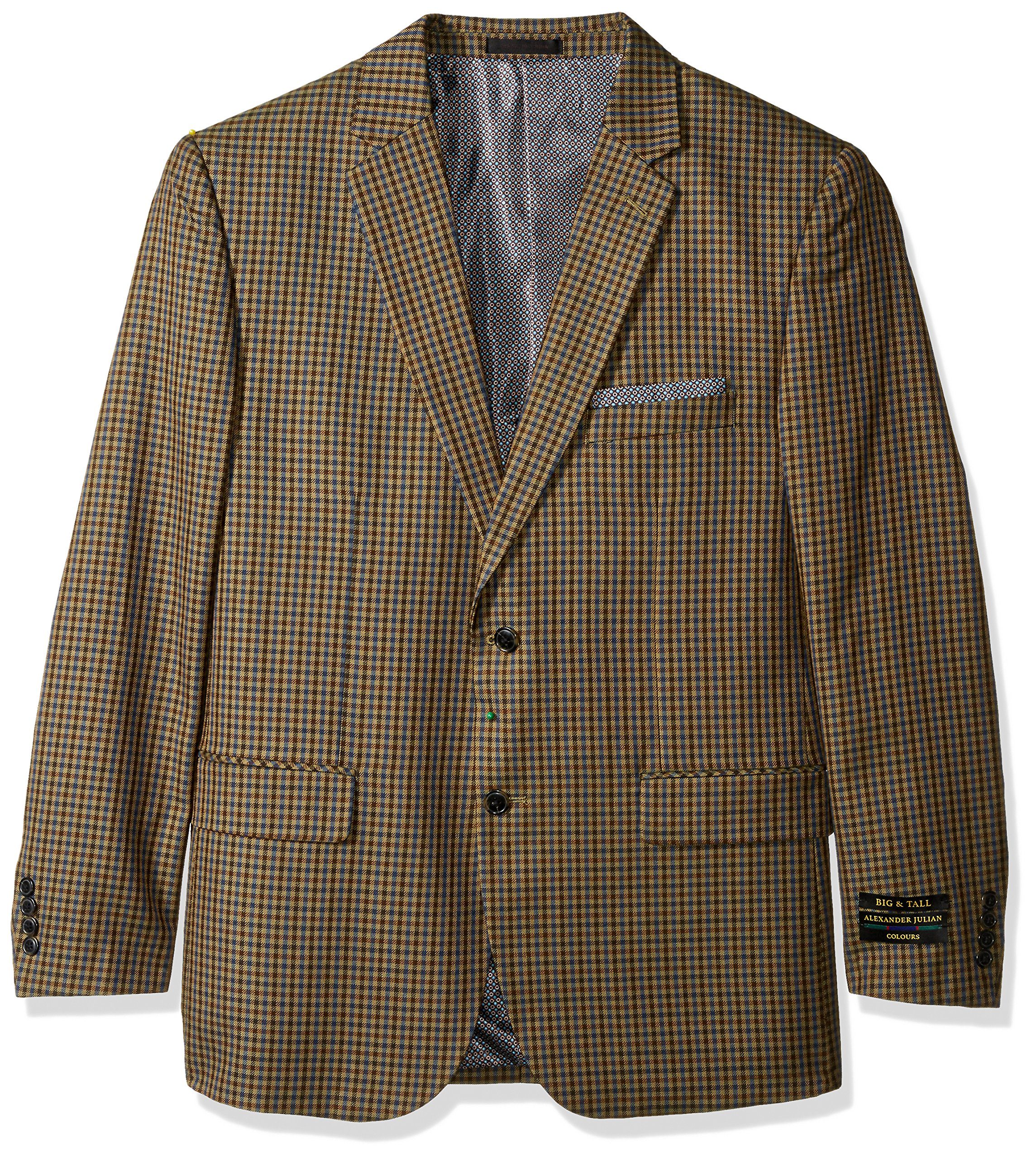 Alexander Julian Colours Men's Big and Tall Single Breasted Modern Fit Check Sportcoat, Tan/Blue, 54 Regular by Alexander Julian Colours