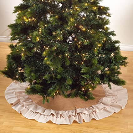 sidonia cotton and jute ruffled holiday decor christmas tree skirt one piece