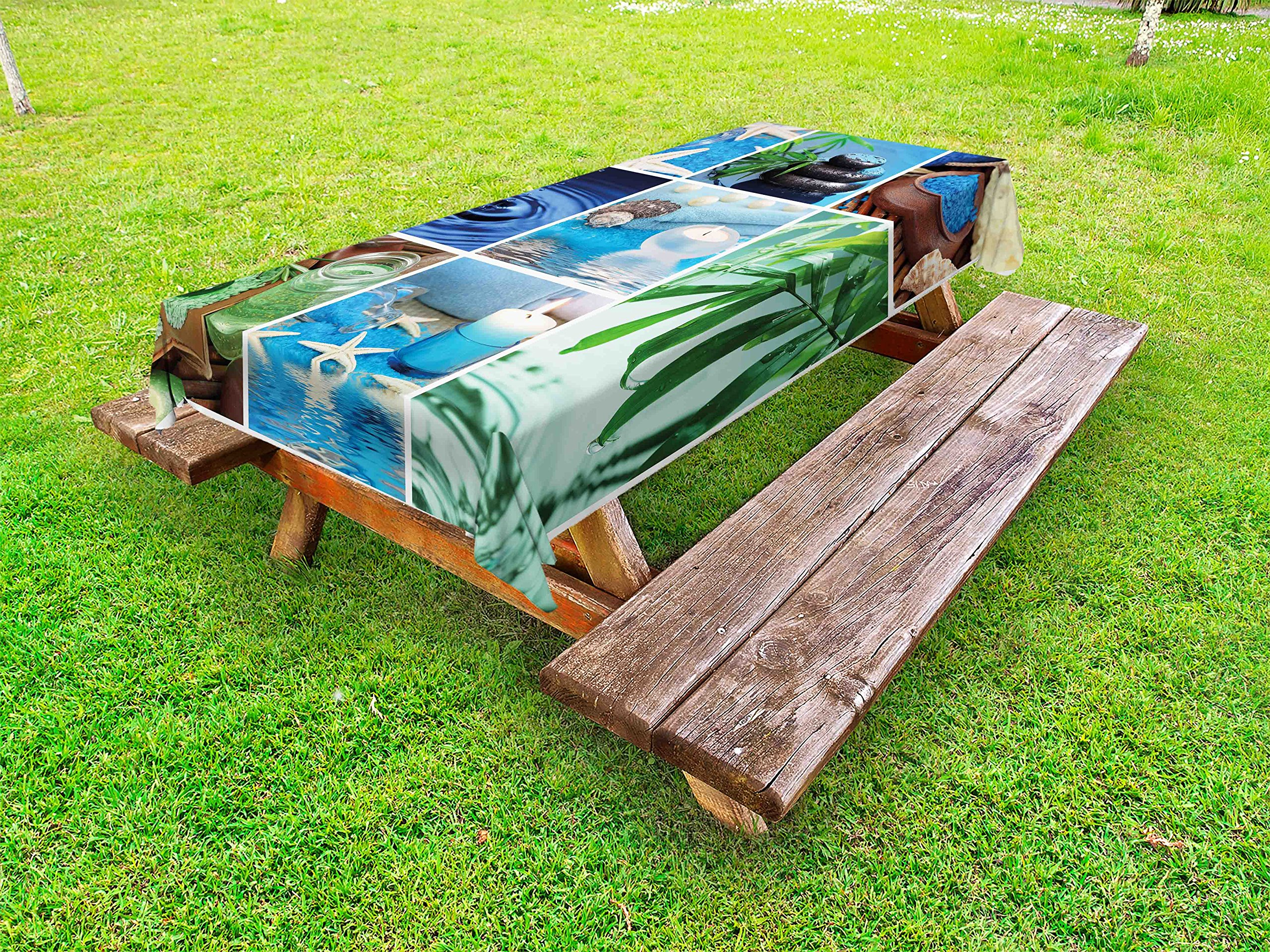 Lunarable Spa Outdoor Tablecloth, Ocean Themed Collage with Starfish Stone Botanic Plants Aqua and Candles Image, Decorative Washable Picnic Table Cloth, 58 X 104 inches, Blue and Green