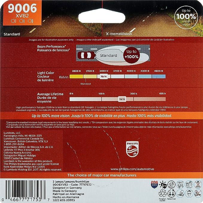 Amazon.com: Philips 9006 X-tremeVision Upgrade Headlight Bulb (Pack of 2): Automotive