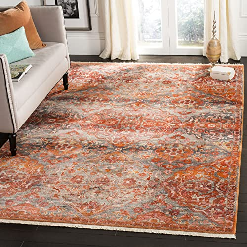 Safavieh Vintage Persian Collection Aqua and Orange Polyester Area Rug, 8 x 10 ,