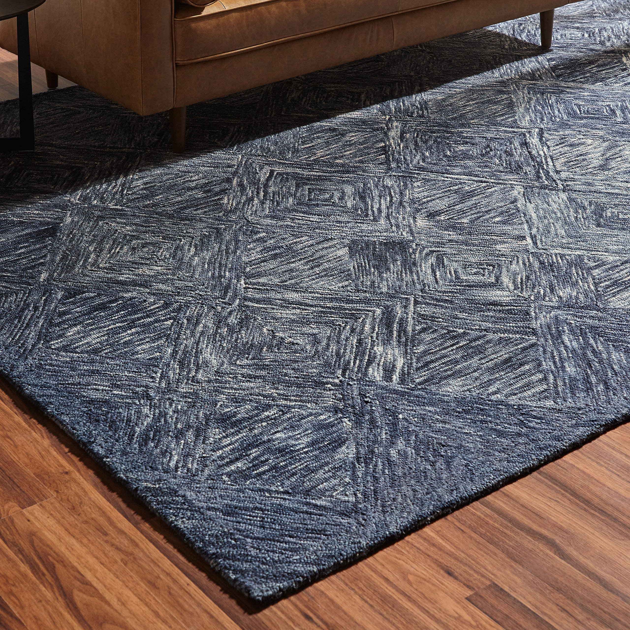Rivet Motion Patterned Wool Area Rug, 8' x 10'6, Denim Blue by Rivet (Image #3)