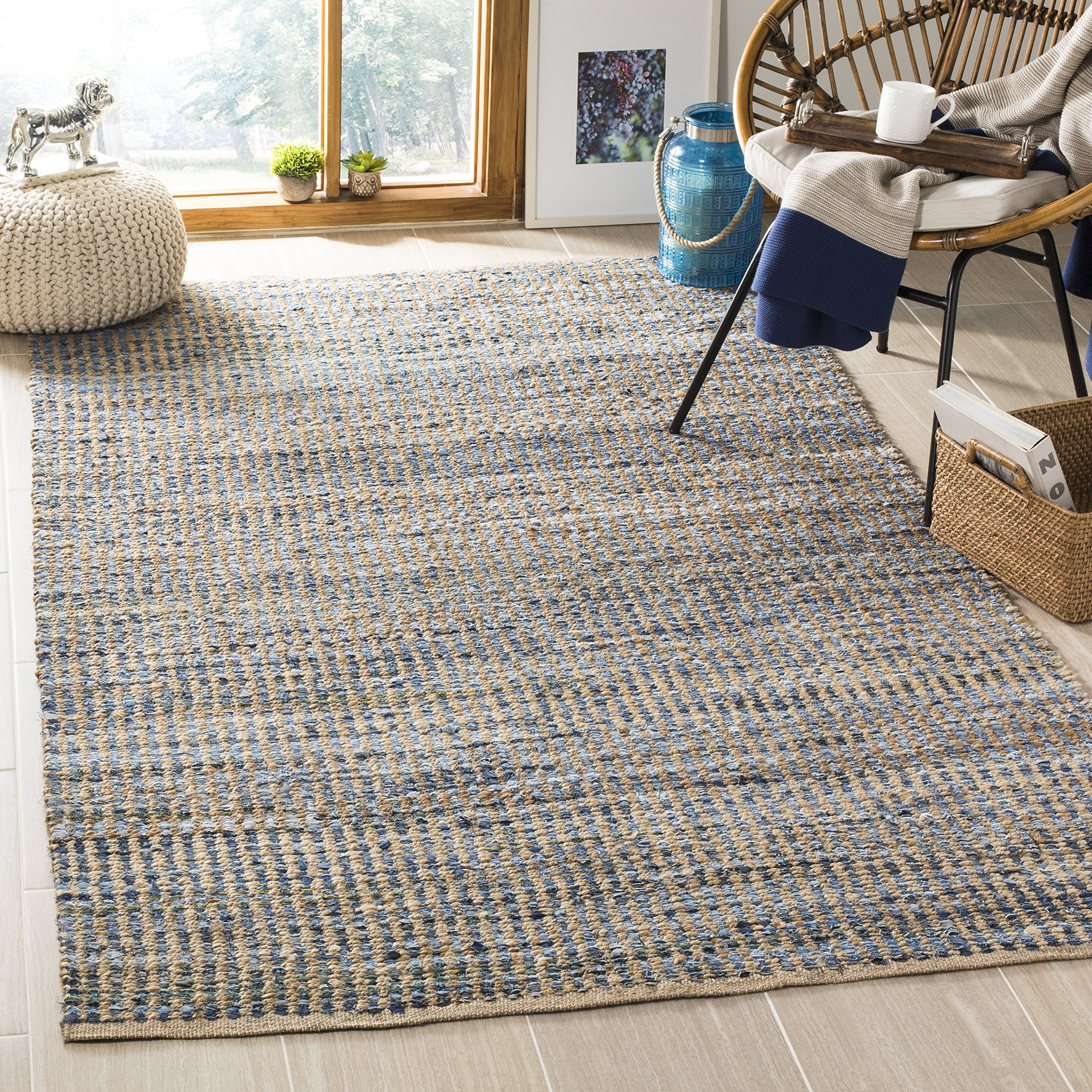 Safavieh Cape Cod Collection CAP352A Hand Woven Flatweave Natural and Blue Striped Jute Area Rug (4' x 6')