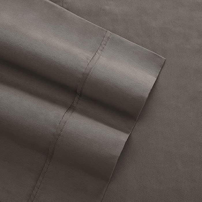 Columbia Organic Cotton Sateen Weave Performance Sheet Set – 300TC with Omni-Wick Moisture Wicking Stay Dry Technology - 100% GOTS Certified Organic Cotton – King 4-Piece Sheet Set, Stratus Grey