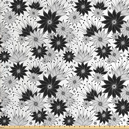 Amazon lunarable black and white fabric by the yard abstract lunarable black and white fabric by the yard abstract flowers with a modern art design mightylinksfo