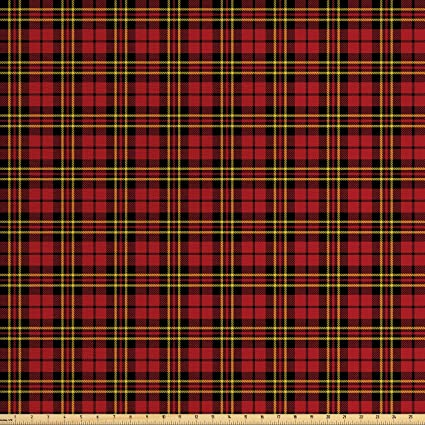 Amazoncom Lunarable Plaid Fabric By The Yard Classical Celtic