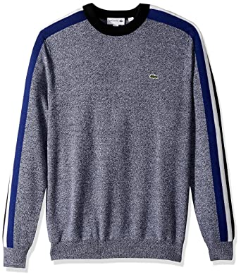 5cd08febb Lacoste Men s Mouline Jersey   Jacquard Wool Blend Sweater with Stripes