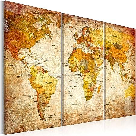 murando Tablero De Corcho & Cuadro en Lienzo 120x80 cm No Tejido XXL Estampado Memoboard Decoración De Pared Impresión Artística Fotografía Gráfica Poster Mapamundi Mapa del Mundo k-B-0020-p-a: Amazon.es: Hogar