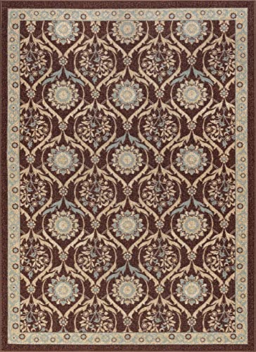 Leola Transitional Floral Brown Non-Skid Rectangle Area Rug, 6.7 x 10