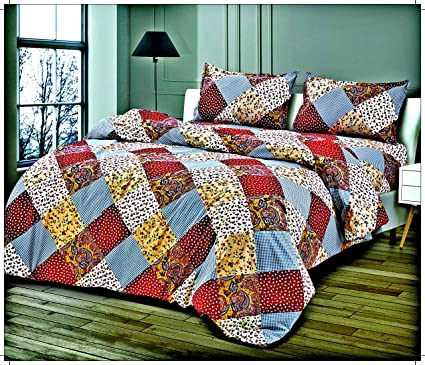 Palchin Creations High Quality 300 Cotton Extra Large Bed Sheet With 2  Pillow Covers   Size