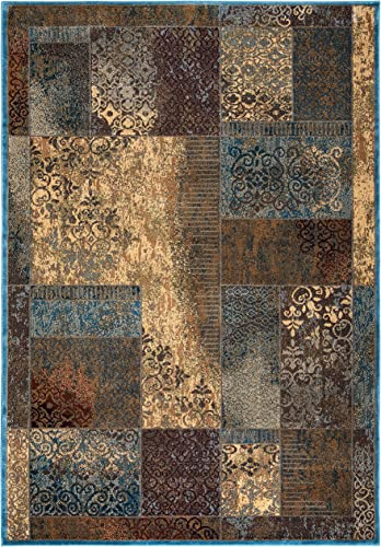 Rizzy Home Bellevue Collection Polypropylene Area Rug, 7 10 x 10 10 , Tan Khaki Blue Burgundy Patchwork