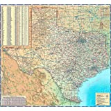 "Texas Wall Map - Paper 39""W x 36""H"