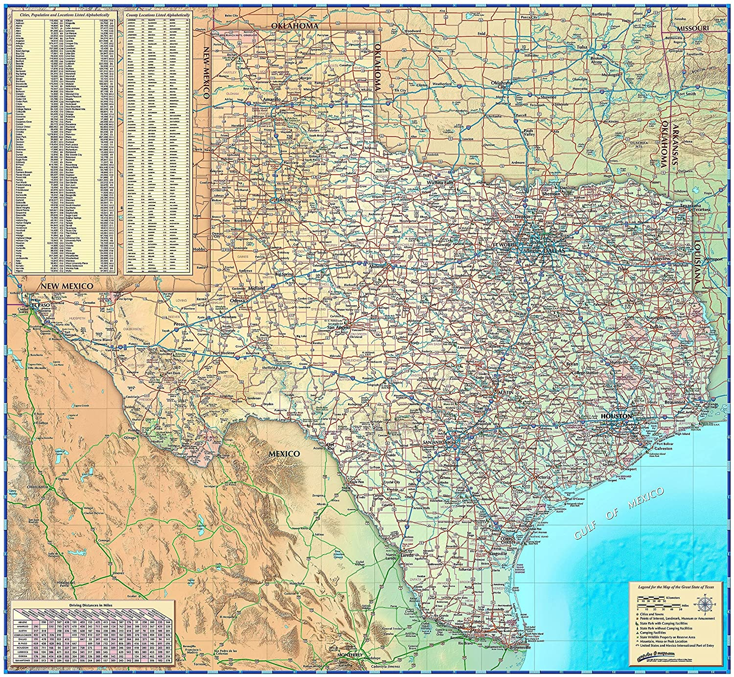 Relief Map Of Texas.Amazon Com Texas Wall Map Paper 39 W X 36 H Office Products