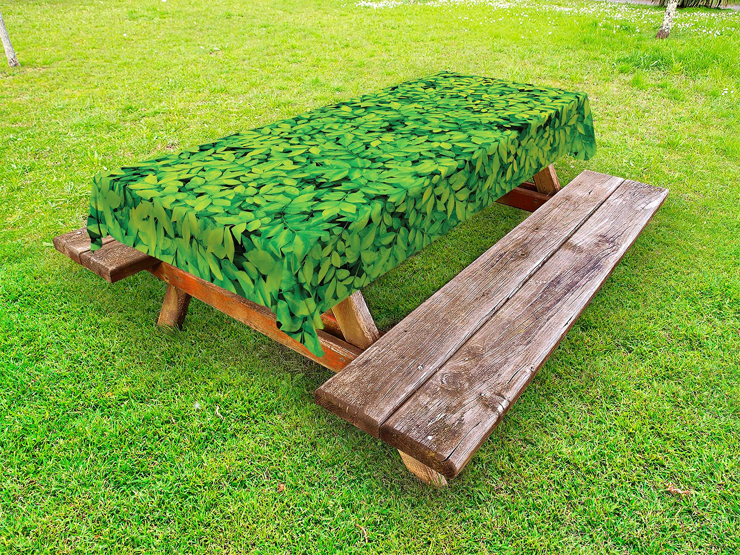 Lunarable Green Outdoor Tablecloth, Fresh Garden Forest Little Leaves Lush Growth Organic Nature Outdoors Woods Plant, Decorative Washable Picnic Table Cloth, 58 X 104 inches, Lime Green