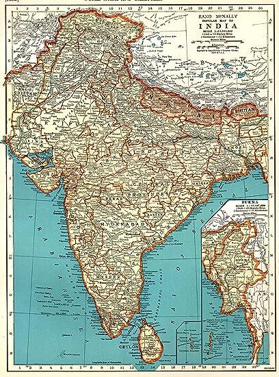 Amazon.com: 1939 Antique India Map Original Vintage Map of India
