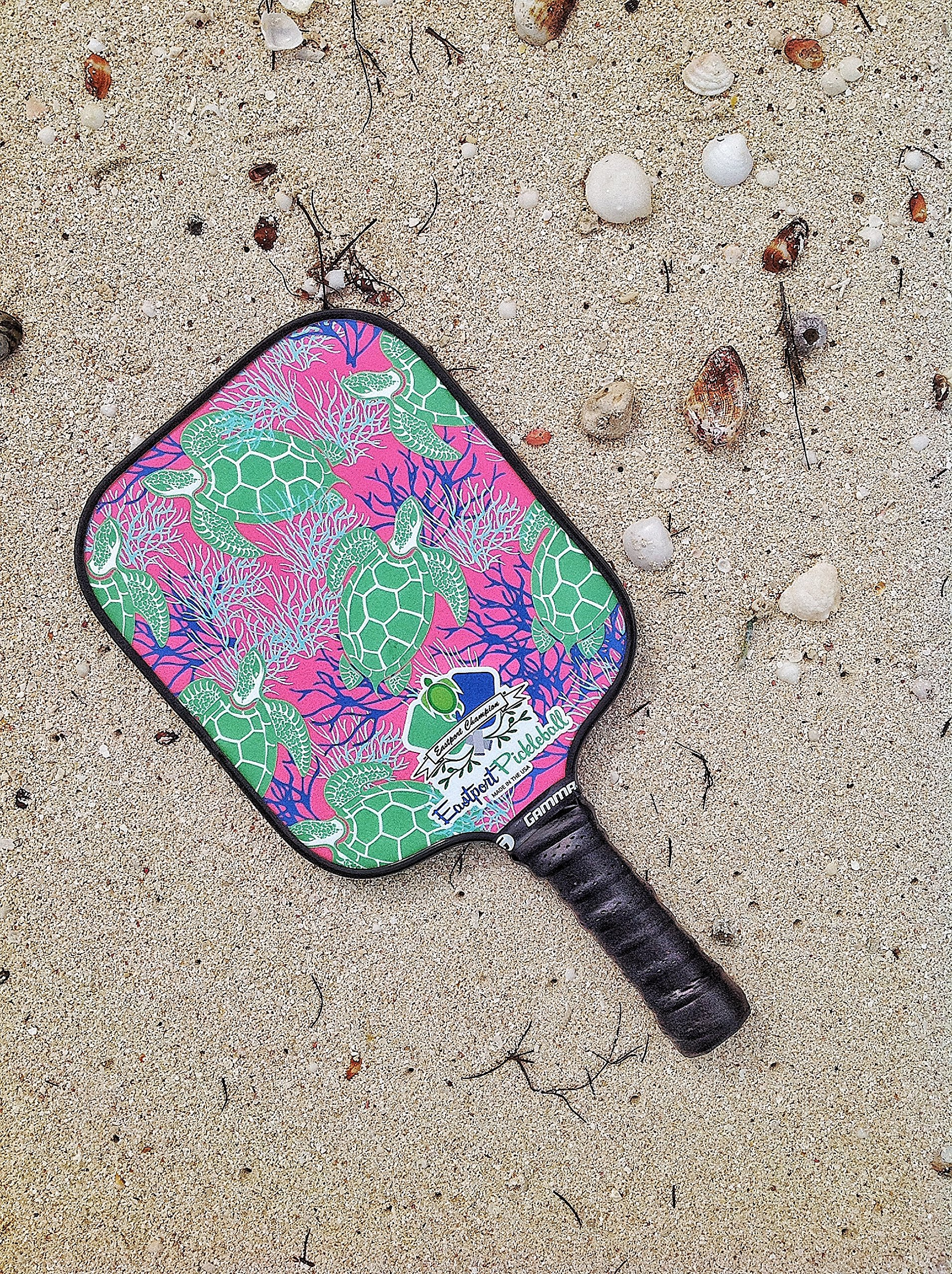 Eastport Pickleball Paddle, USAPA Approved, Green Turtle on Pink Sea - Pickleball's Poshest Paddle by Eastport Pickleball