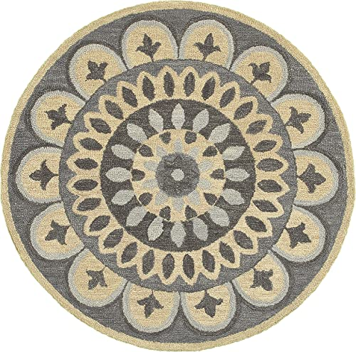 LR Resources Area Dazzle LR54054-GRY40RD Gray X 4 ft Plush Indoor Round Rugs, 4 x 4