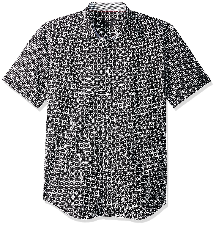 fab9f2a6475c Bugatchi Men's Slim Fit Black Circular Point Collar Short Sleeve Shirt at  Amazon Men's Clothing store: