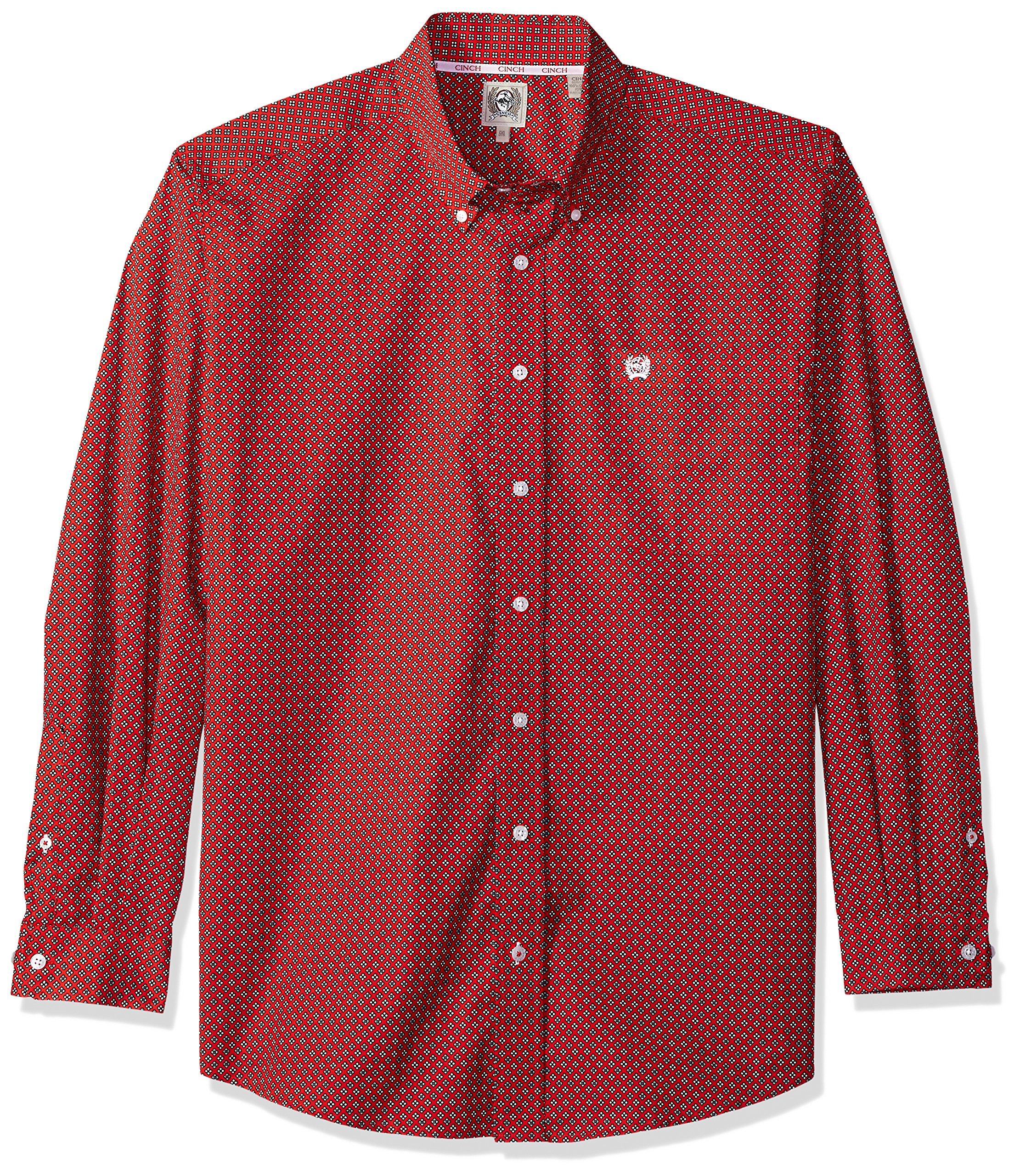 Cinch Men's Classic Fit Long Sleeve Button One Open Pocket Print Shirt, Red Flower, XL