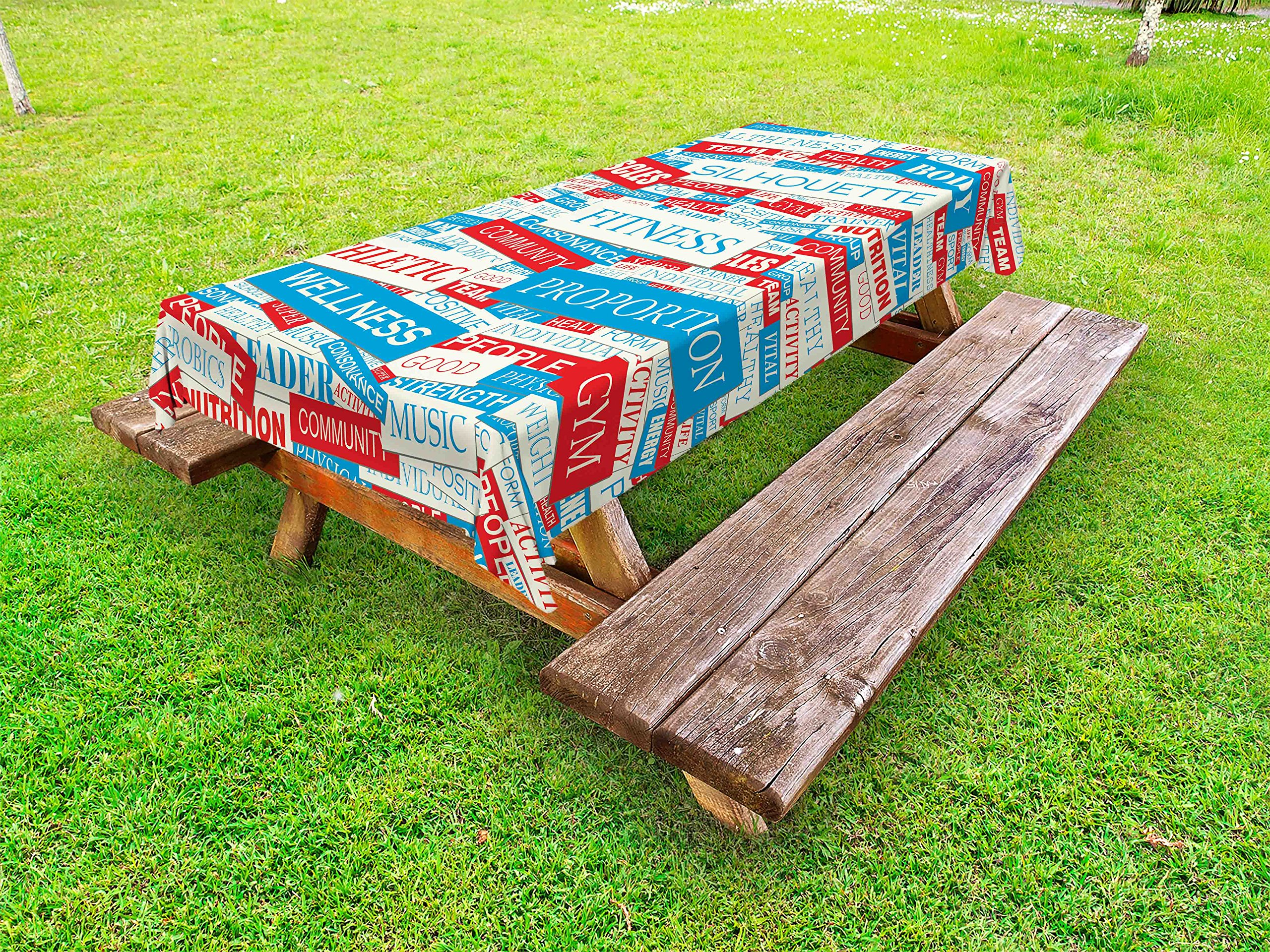 Ambesonne Fitness Outdoor Tablecloth, Collage of Words Physical Activity Healthiness Nutrition Bodycare Theme, Decorative Washable Picnic Table Cloth, 58 X 104 inches, Sky Blue White Red