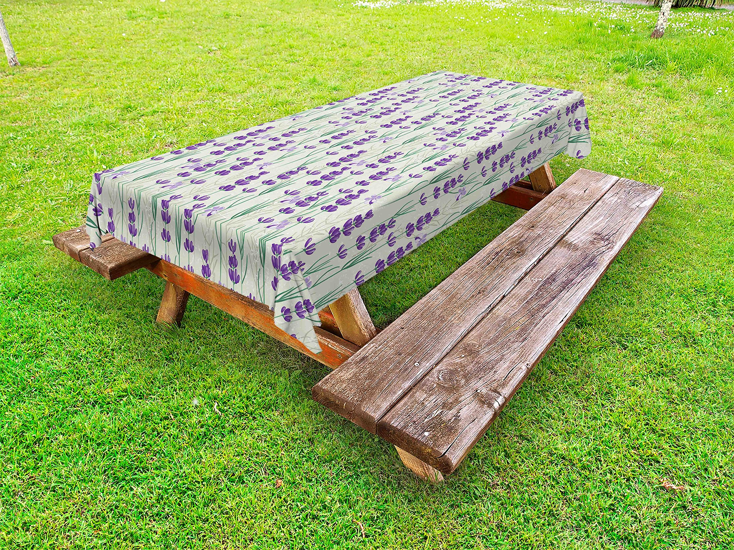 Ambesonne Lavender Outdoor Tablecloth, Botanical Pattern with Fresh Herbs Aromatherapy Spa Theme, Decorative Washable Picnic Table Cloth, 58 X 120 inches, Pale Sage Green Violet and Green