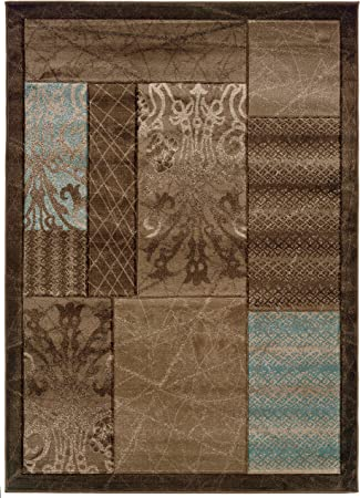 Amazon Com Linon Home Decor Milan Collection Brown And Aqua 5 Ft X 7 Ft 7 In Indoor Area Rug Furniture Decor