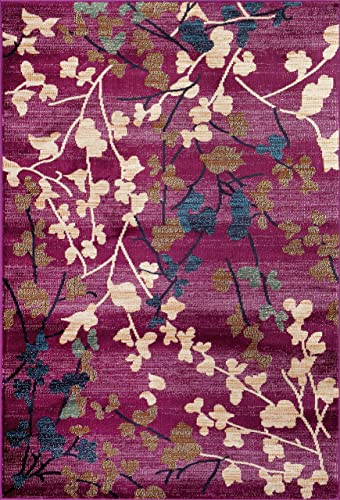 Contemporary Floral Purple Soft Area Rug 2 x 3