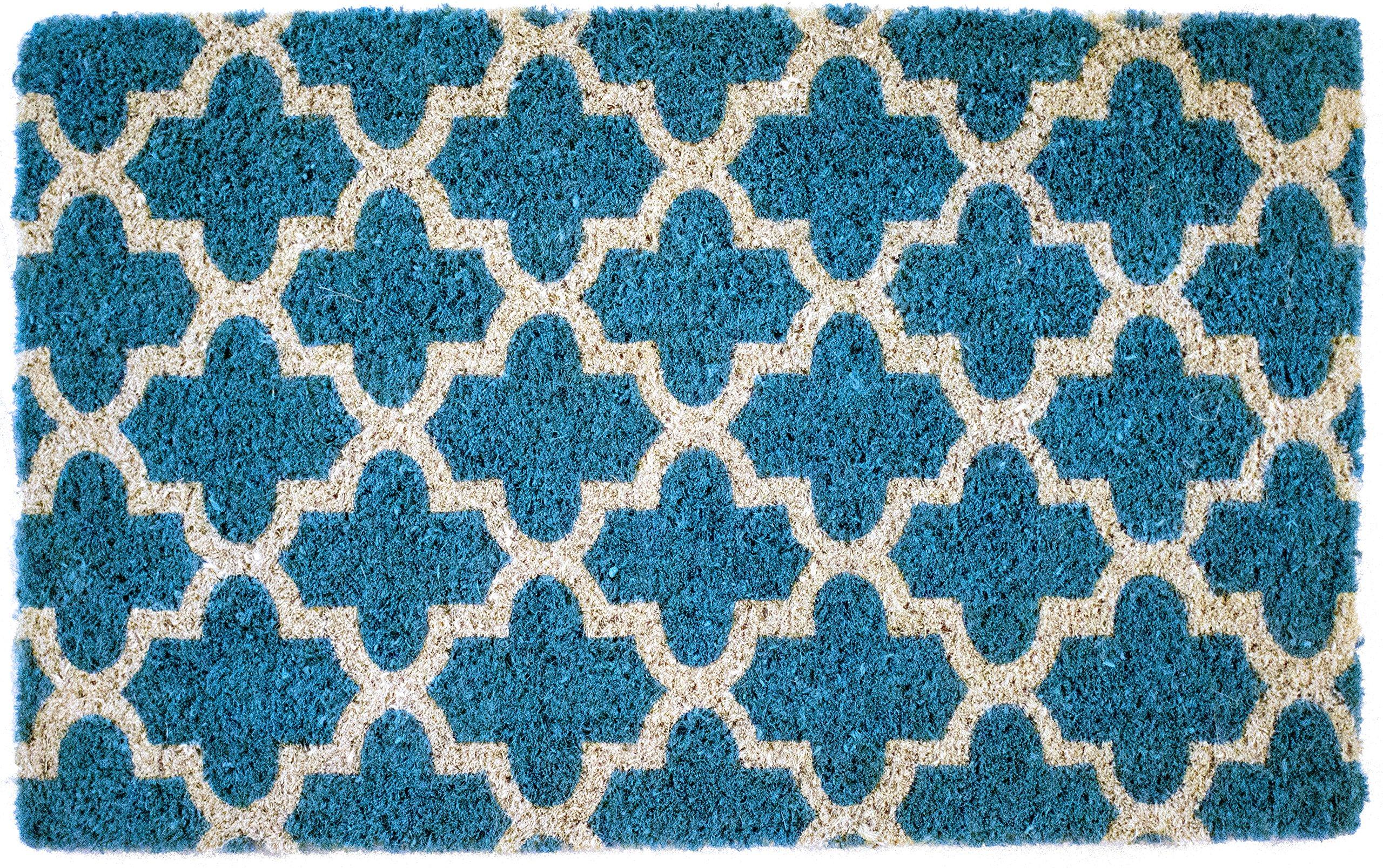 Entryways Annabelle, Hand-Stenciled, All-Natural Coconut Fiber Coir Doormat 18'' X 30'' x .75''