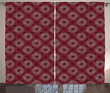Ambesonne Maroon Curtains By Hand Drawn Circles Dots In Watercolors Artistic Brushstrokes Illustration Living