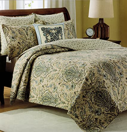 Cynthia Rowley Bedspread 3pcs Full/Queen Cotton Quilt Set Reversible Dusty  Blue Green Beige Sage
