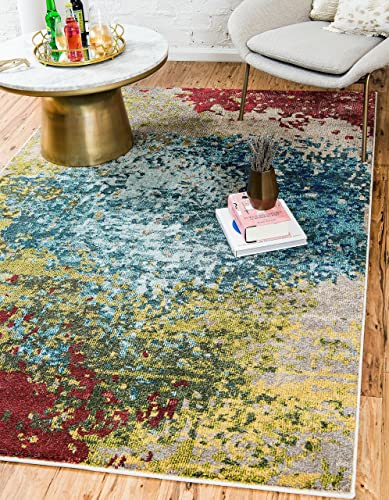 Unique Loom Estrella Collection Colorful Abstract Blue Area Rug 5' 0 x 8' 0