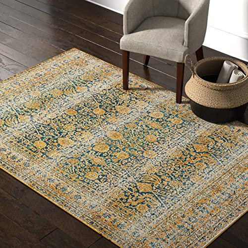 Rivet Gold and Blue Royalty Rug, 5 4 x 7 6 ,