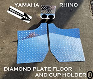J & O Carts Parts Yamaha Rhino Aluminum Diamond Plate Floor & Cup Holder