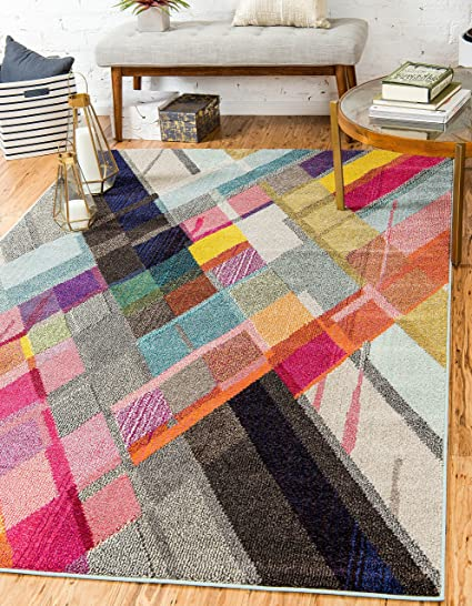 Unique Loom Estrella Collection Modern Abstract Multi Area Rug (8 x ...