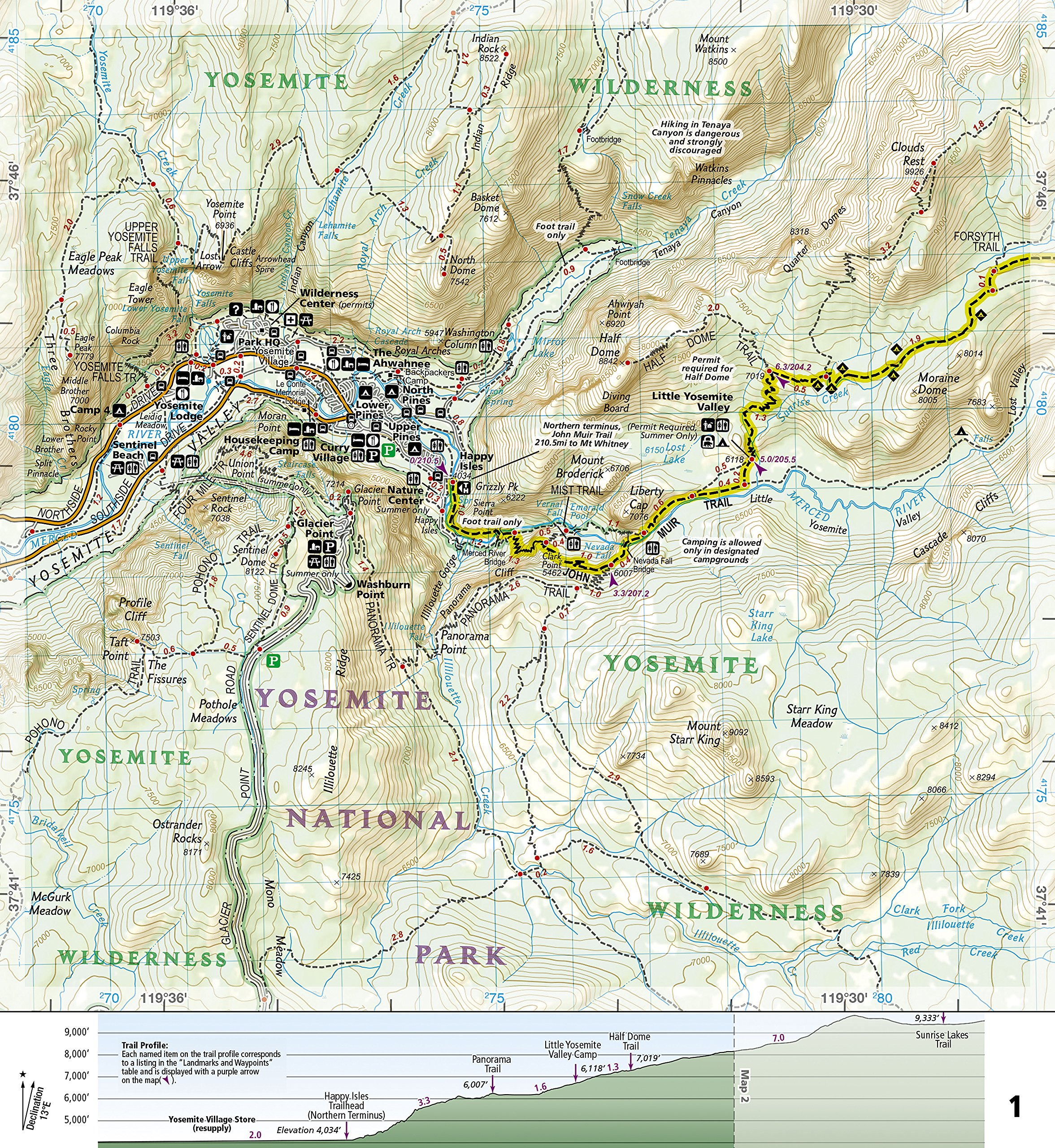 John Muir Trail Topographic Map Guide National Geographic Trails