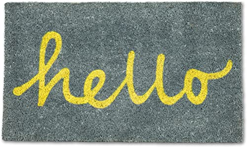 Abbott Collection 35-PFW GE 6561 Grey Doormat, Hello Yellow