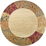 Sedona Transitional Floral Beige Round Area Rug, 5' Round