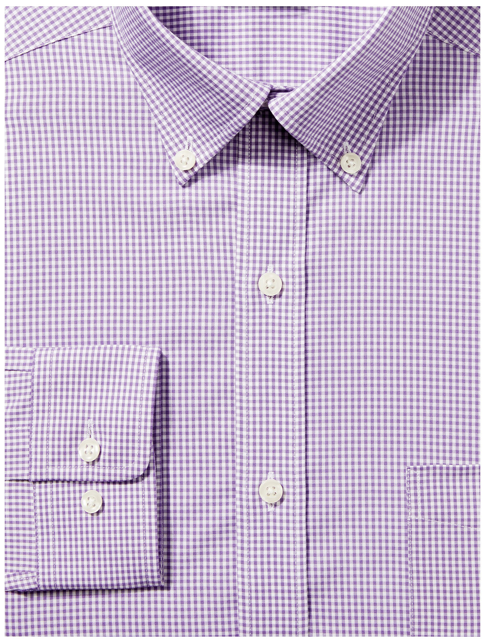 Buttoned Down Men's Classic Fit Button-Collar Non-Iron Dress Shirt, Purple Small Gingham, 16.5'' Neck 36'' Sleeve by Buttoned Down (Image #2)