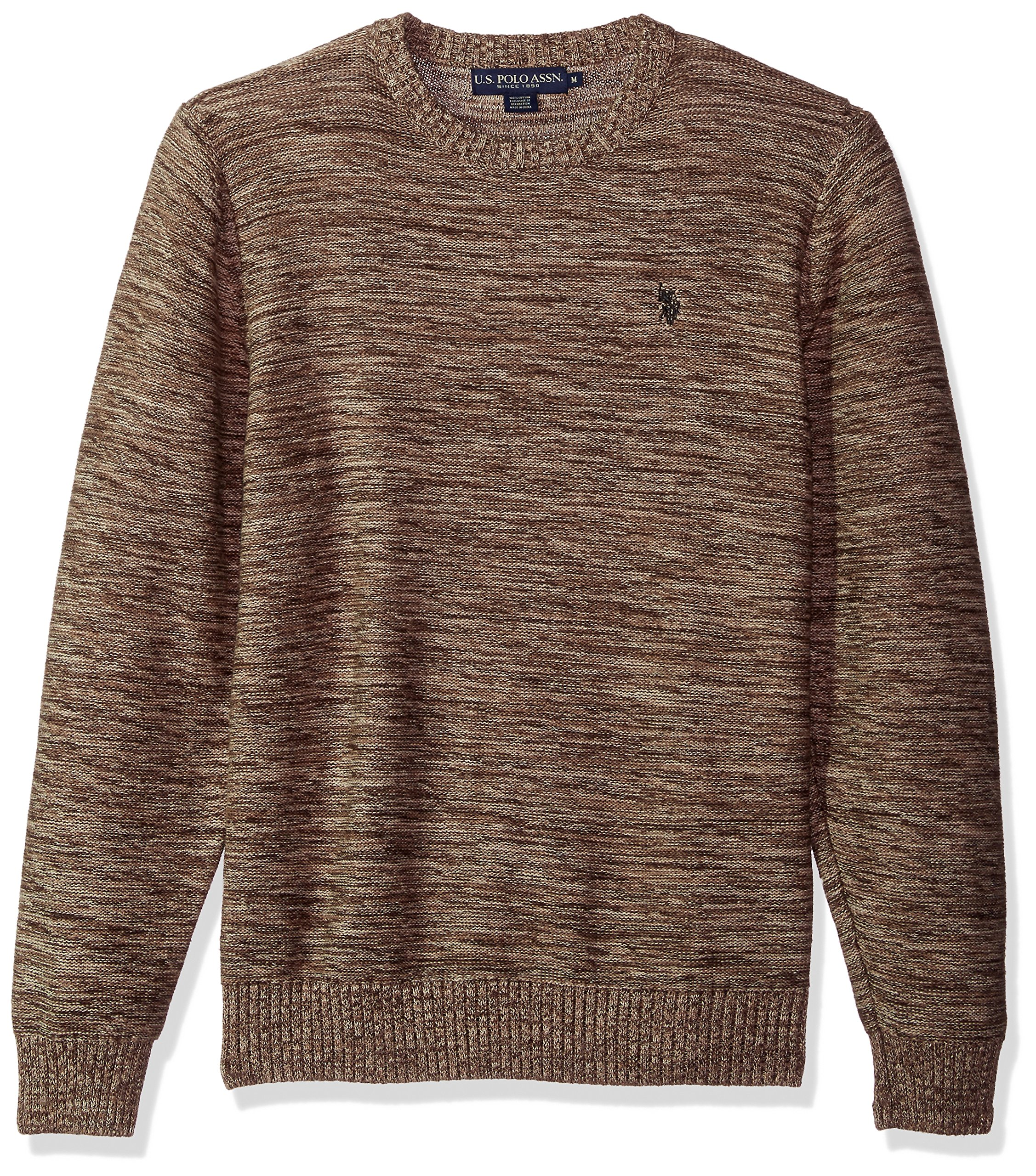 U.S. Polo Assn. Men's MARL Reverse Jersey Crew Neck Sweater, Coffee MARL, Medium