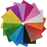 "15 Pack Self Adhesive Glitter Foam Paper Sheets - 8""x12"" - 15 Colors - Perfect for Holiday Card Crafts"