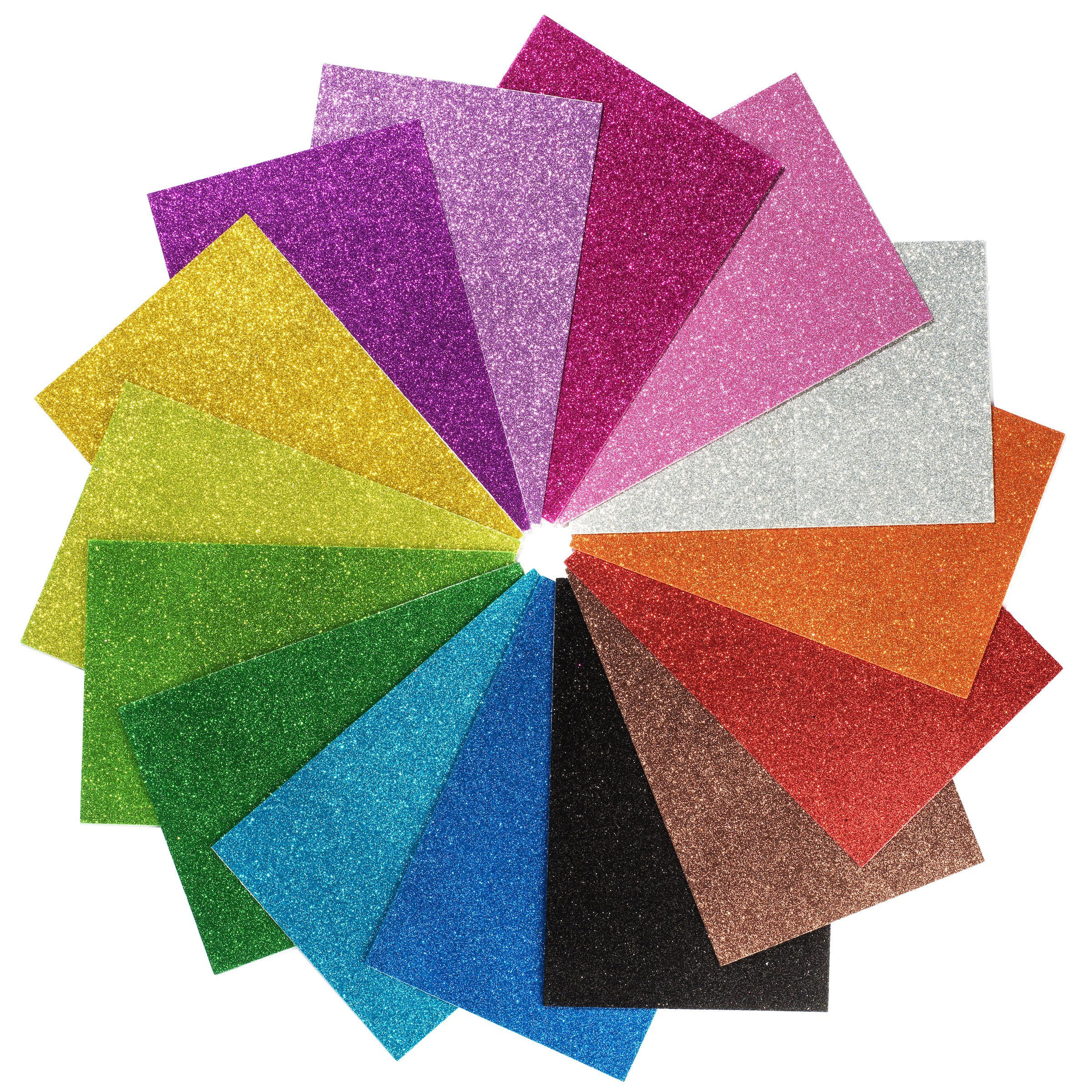 Peachy Keen Crafts - 15 Pack Self Adhesive Glitter Foam Paper Sheets - Assorted Colors - Perfect for Kids Art Projects and Classrooms