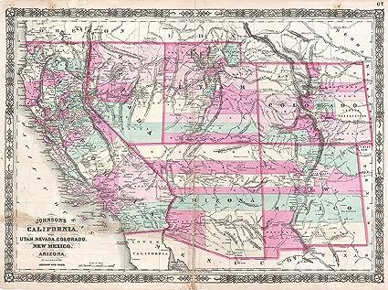 Map Of Arizona Utah And Colorado.Amazon Com Home Comforts Peel N Stick Poster Map 1864
