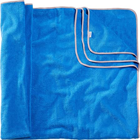 Sowel® - Toalla de baño grande, 200 x 160 cm, 100% algodón bio – Certificado GOTS – Toalla de playa XXL, mullida, azul / gris: Amazon.es: Hogar
