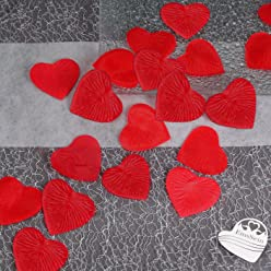 EinsSein 100x Rosenblüten Herz 4cm rot Dekoration Blüten Blumen Hochzeit Streudeko Konfetti
