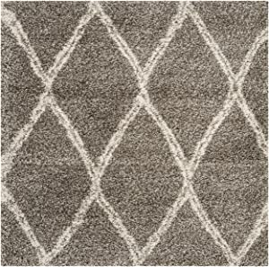 SAFAVIEH Hudson Shag Collection SGH329B Moroccan Trellis Non-Shedding Living Room Bedroom Dining Room Entryway Plush 2-inch Thick Area Rug, 7' x 7' Square, Grey / Ivory