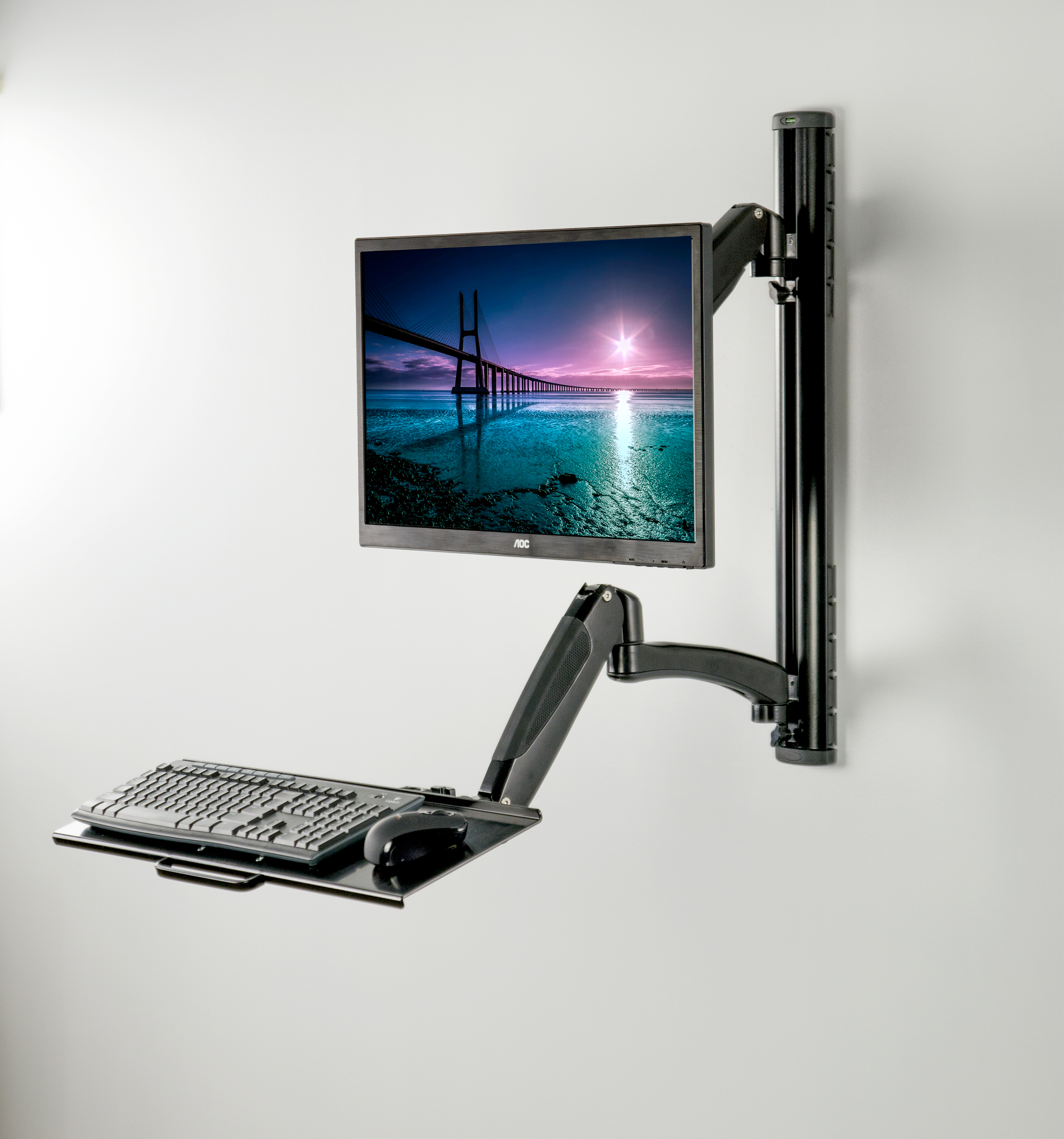 VIVO Black Sit-Stand Wall Mount Counterbalance Height Adjustable Monitor and Keyboard Workstation for Screens up to 27 inches (STAND-SIT1K)