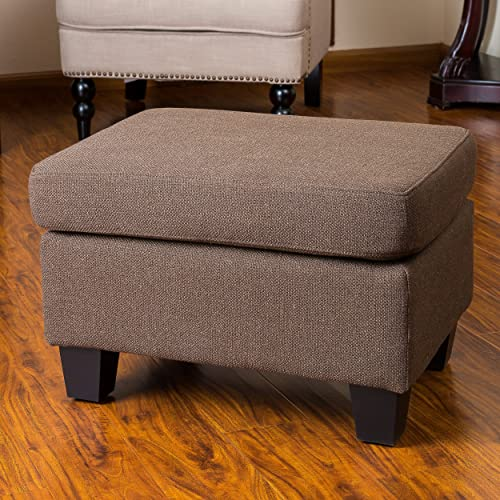 Christopher Knight Home Christabel Brown Fabric Ottoman Footstool, Chocolate