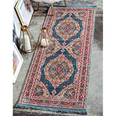 Unique Loom Baracoa Collection Bright Tones Vintage Traditional Turquoise Runner Rug (2' 2 x 6' 0)