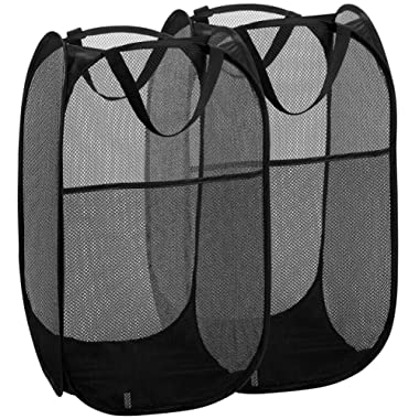 Mesh Popup Laundry Hamper - Portable, Durable Handles, Collapsible for Storage and Easy to Open. Folding Pop-Up Clothes Hampers are Great for The Kids Room, College Dorm or Travel. (Black   Set of 2)